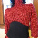 Vintage 80s Flashy Red Leopard Print Minidress Punk New Wave Size 7/8