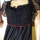 Vintage 80s Sexy Senorita Spanish Dancer Tiered Black Lace Costume Party Dress M/L