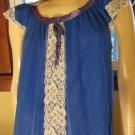 Vintage 70s GIRLY GLAM Electric Blue Double Nylon Chiffon Nightgown Erica Loren M.