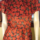 Vintage 70s Disco Dolly Red Poppy Print Semi Sheer Ruffle Boho Dress M.
