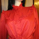 Vintage 70s LEVI STRAUSS & CO Western Rockabilly Red Polka Dot Ruffle Blouse Sz 16 M/L