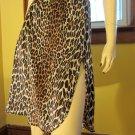 Meow 70s VTG Bettie Page Style Leopard Print High Slit Nylon Half Slip Pencil Skirt Vanity Fair L