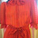 Vintage Disco 70s SHEER Red Sexy Secretary Dress Sz S 7/8