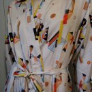 Vintage SPACE AGE ATOMIC 50s Geometric Print Belted Robe L.
