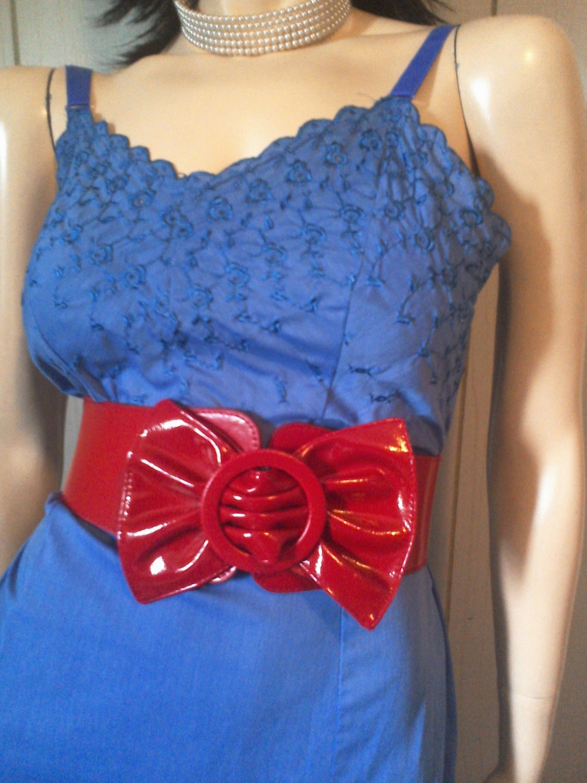 Vintage Blue Floral Embroidered Rockabilly Pinup Cotton Slip Dress 50s 60s SZ 36