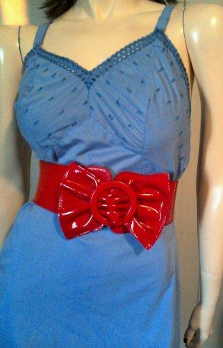 Vintage 50s 60s Blue Eyelet Lace Rockabilly Pinup Cotton Mini Slip Dress Sz 38 M