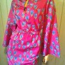 Vintage 70s Designer Albert Capraro Tulip Print Asian Kimono Style Floral Dress Sz 10 M/L