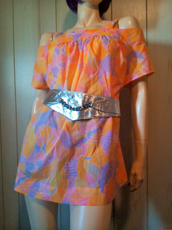 Vintage Groovy Mod 60s Pastel Psychedelic Print Go Go Blouse Top Mini Dress 2X 3X