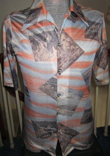 Vintage 70s Funky Scenic Photo Print Buttondown Mens Shirt Sz M