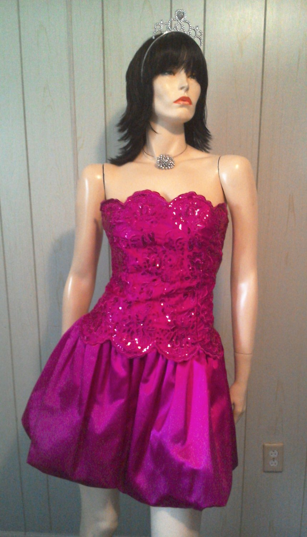 b67ab89768e Ultra Glam Prom Queen Fuschia Sequin Bubble Skirt Party Mini Dress GUNNE SAX  5 6