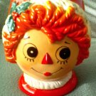 Vintage Raggedy Ann Ceramic Christmas Planter Flower Pot 50s 60s