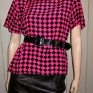 Vintage 80s New Wave Punk Electro Neon Pink Checkerboard Silk Blouse Top L