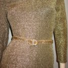 Vintage 80s Disco Gold Glitter Glam Sexy Formfit Lycra Mini Dress Sz S.