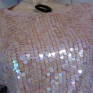80s does 60s Go Go Mod Shimmery Pink Glam Sequin Retro Sweater Party Top S.