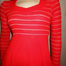 Flashy Vintage 70s Lipstick Red Glitter Glam Babydoll Sparkly Sweater Mini Dress S XS