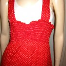 Flirty Pinup Red Polka Dot Retro Rockabilly Jumper Sun Dress Sz M