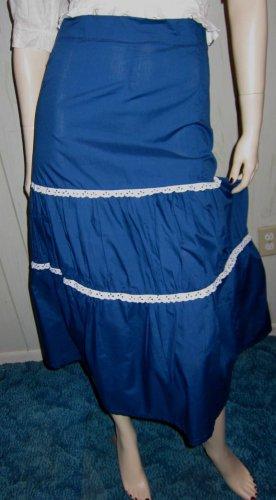 Vintage 70s Rockabilly Gal Blue Tiered Ruffle Bluegrass Swing Circle Skirt Sz S