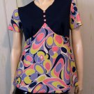Vintage Groovy Girl Trippy Psychedelic Mod Swirls Babydoll Top 60s 70s M/L