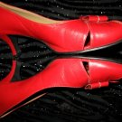 Pinup Style Retro Red Leather Sexy Peep Toe Kitten Heels Pumps Franco Sarto Designer Sz 8