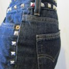REBEL GIRL SILVER STUDDED LEVIS Flare Leg Low Rise 90s DENIM BLUE JEANS Sz 5 XS