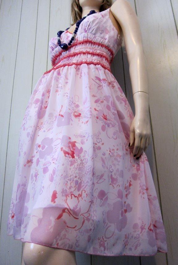 Allen schwartz chiffon and vintage lace dress