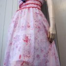 Designer ABS By ALLEN SCHWARTZ Pink Floral Chiffon Frilly Babydoll Party Dress Sz 8