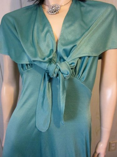 70s Sexy Disco Doll Shimmery Seafoam Green Halter Maxi Party Dress Gown 2 Piece vintage glam S/M