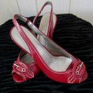 Pinup Style Retro Red Patent Sexy Peep Toe Buckle Slingback Heels Sz 8 MINT NWB