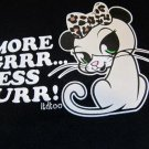 MORE GRR... LESS PURR! Sassy Kitty Cat Girl's Black Printed Decal Cotton T Shirt XS