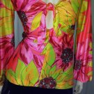 MOD Vintage 60s Fredericks Of Hollywood Psychedelic Neon Flower Power Babydoll Top L RARE