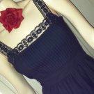 Vintage 70s Gothic Lolita Black Lace Trimmed Cotton Sun Dress S/XS