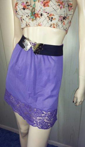 Vintage 60s GO GO GLAM Purply Plum Lace Trimmed Mini Slip MOD Mini Skirt Sz M ooak