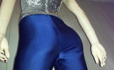 ELECTRO GLAM vintage 90s BLUE Skinny SPANDEX Pants Leggings skin tight XL.