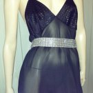 70s DISCO Vintage Vamp Glitzy Glitter Glam Slinky Black Slip Dress Gown L.