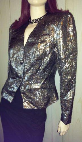 GLAM Vintage 80s Disco Diva Shimmery Silver & Gold Metallic Puff Slv Jacket Blazer Sz 12 M