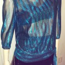 DISCO DANCING QUEEN Electric Blue Glitter GLAM Vintage 70s Top Sz M/L