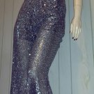 90s does 70s Spectacular Shimmery Silver Sequin GLAM Diva Hip Hugger Bell Bottom Glitter Pants L XL