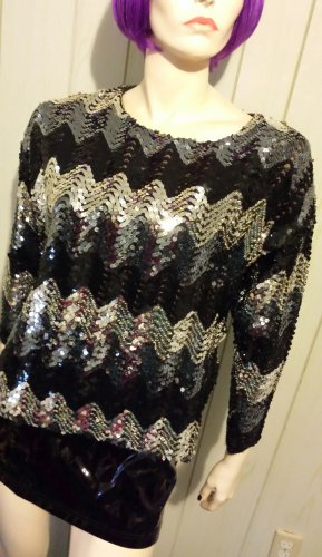 Flashy Diva GLITZY GLAM Vintage Sequin DISCO PARTY Sparkle Top M 70s 80s