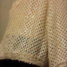 Vintage 70s Boho Peek-a-boo Crochet Irredescent Sequins GLAM Hippie Girl Sparkle Top XL XXL+