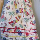 Vintage 50s Housewife Mexico Spain Motif Artsy Novelty Print Cotton Apron