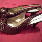 Pinup Style Chocolate Brown Suede Sexy Peep Toe Buckle Slingback Heels Sz 8 MINT NWB