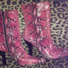 Vintage 90s GLAM Pink Leather Snakeskin High Heel Boots BAKERS Sz 9 NEW MINT
