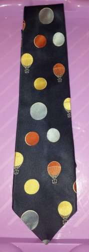 Men's Vintage 70s Hot Air Balloons Novelty Print Neck Tie Athey Designs