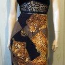 Vintage 70s 80s Jungle Cat Leopard Print Cat Lovers Boho Wrap Skirt S.