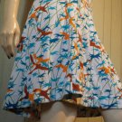 Artsy Vintage Boho 70s Wild Geese In Flight Bird Lovers Novelty Print A-line Skirt S/M