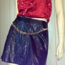 90s Rocker Girl Leather Look Mini Skirt & Red Sequin Top GLAM Outfit M/L
