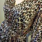 Vintage CATGIRL Leopard Kitty Print Dolman Slv Blouse Top VF Sz M 70s 80s