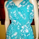Vintage 80s Hawaiian Turquoise Tropical Floral Print Skinny Jumper Jumpsuit L.