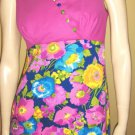 ALOHA Psychedelic MOD 60s 70s LUDI'S Hawaiian Floral Maxi Dress S/M