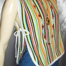 OVER THE RAINBOW Funky 60s Fruit Striped Hippie Girl Vest Top ONE SIZE FITS ALL